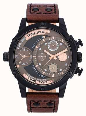 Police Bruine lederen band bruin zwarte wijzerplaat 14536JSB/12A