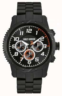 Harley Davidson Mens zwarte band zwarte kast chronograaf 78B138