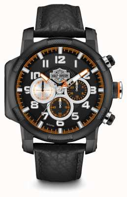 Harley Davidson Mens zwart lederen band chronograaf 78B139