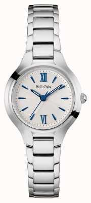 Bulova Vrouwen zilver band witte wijzerplaat 96L215