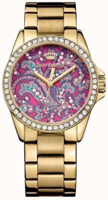 Juicy Couture Vrouwen goud metaal band roze patroon wijzerplaat 1901424
