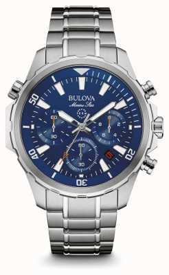 Bulova Mens marine ster chronograaf blauwe wijzerplaat 96B256