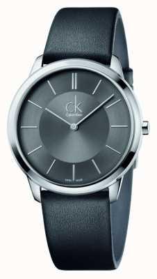 Calvin Klein Mens minimale zwart lederen band K3M211C4