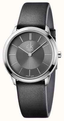 Calvin Klein Mens minimale horloge zwart lederen band K3M221C4