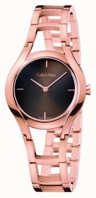 Calvin Klein Womens class watch rose goud verguld bruin dia K6R2362K