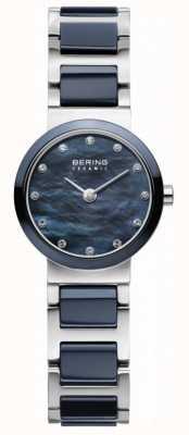 Bering Womens blauwe wijzerplaat blauwe verzilverd riem 10725-787