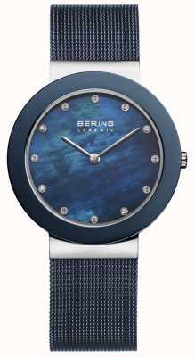 Bering Vrouwen blauwe band blauwe wijzerplaat 11435-387