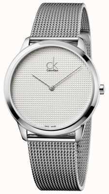 Calvin Klein Minimal mesh armband witte wijzerplaat K3M2112Y