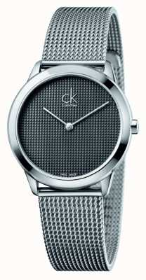 Calvin Klein Minimal mesh armband zwarte wijzerplaat K3M2212X