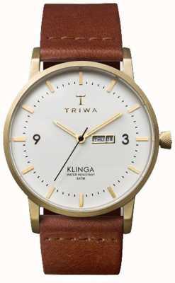 Triwa Unisex Klinga bruin lederen band witte wijzerplaat KLST103-CL010213