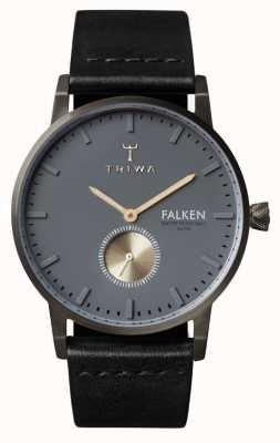 Triwa Mens Falken zwart lederen band grijze wijzerplaat FAST102-CL010113