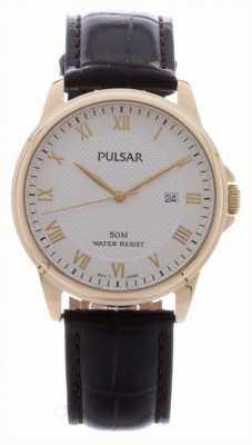 Pulsar Mens bruin lederen band vergulde geval PS9446X1