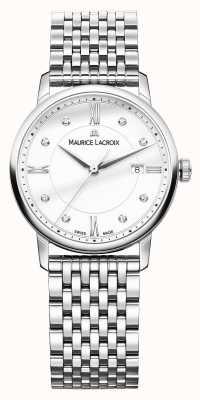 Maurice Lacroix Eliros roestvrij staal anti weerspiegelen met diamanten EL1094-SS002-150-1