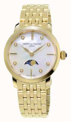 Frederique Constant Slimline maanstand vrouwen diamant set geel goud verguld FC-206MPWD1S5B
