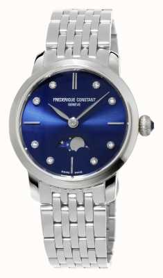 Frederique Constant Slimline maanstand vrouwen marine diamant reeks roestvrij staal FC-206ND1S26B