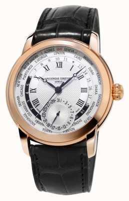Frederique Constant Fabricage Worldtimer alligator band rose goud verguld FC-718MC4H4