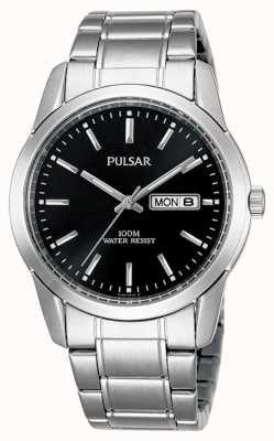 Pulsar | heren | zwarte dag datum wijzerplaat | roestvrij stalen armband | PJ6021X1