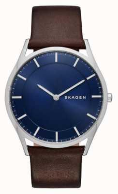 Skagen Bruin leer holst horloge SKW6237