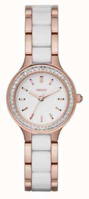 DKNY Chambers wit keramiek en rose goud NY2496