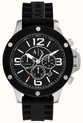 Armani Exchange Mens stedelijke siliconen band chronograaf zwarte wijzerplaat AX1522