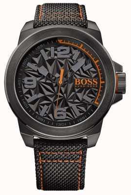 Hugo Boss Orange Mens zwart vergulde riem grijs patroon wijzerplaat 1513343
