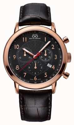 88 Rue du Rhone Mens zwart nam gouden horloge zwarte wijzerplaat 87WA120050