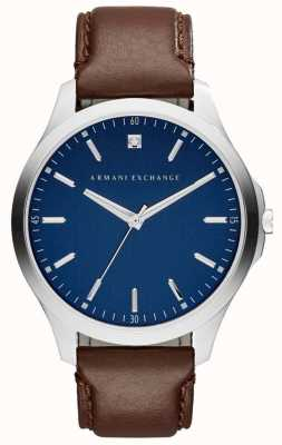 Armani Exchange Mens bruin lederen band blauwe wijzerplaat AX2181