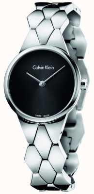 Calvin Klein Womens slang roestvrij stalen armband zwarte wijzerplaat K6E23141