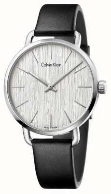 Calvin Klein Womens zelfs zwart lederen band zilveren wijzerplaat K7B211C6
