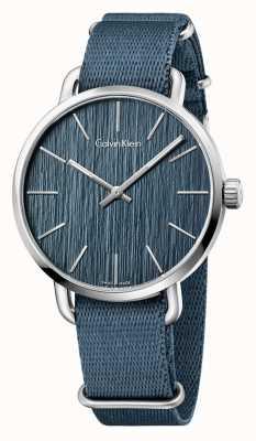 Calvin Klein Mannen zelfs blauwe band blauwe wijzerplaat K7B211WL