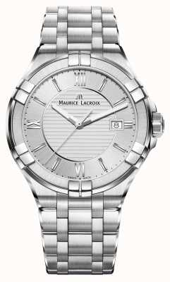 Maurice Lacroix Mens Aikon roestvrij stalen armband zilveren wijzerplaat AI1008-SS002-130-1
