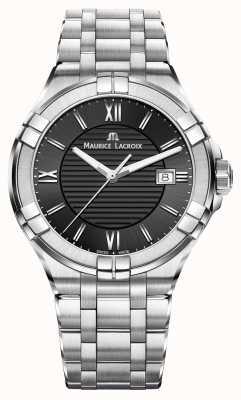 Maurice Lacroix Mens Aikon roestvrij stalen armband zwarte wijzerplaat AI1008-SS002-330-1