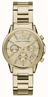 Armani Exchange Womans gouden chronograaf wijzerplaat goud metalen band AX4327