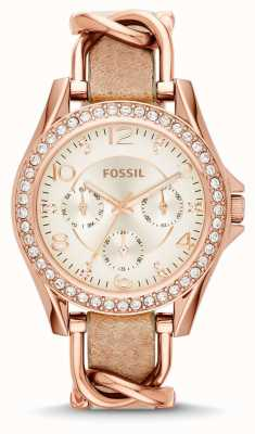 Fossil Womans witte chronograaf bruine wijzerplaat lederen band ES3466