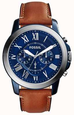 Fossil Mens blauw chronograaf wijzerplaat bruin lederen band FS5151