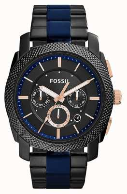 Fossil Mens zwart chronograaf wijzerplaat two tone band FS5164