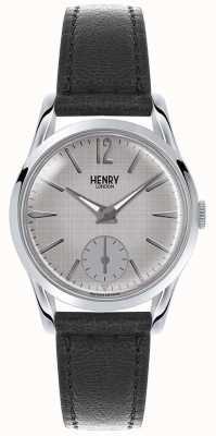 Henry London Womans grijze wijzerplaat grijs lederen band HL30-US-0073
