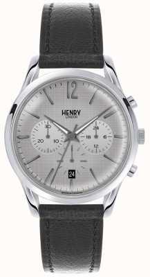 Henry London Womans grijze chronograaf grijze wijzerplaat lederen band HL39-CS-0077