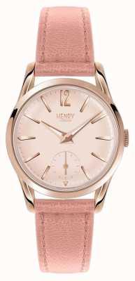 Henry London Womans round roze wijzerplaat roze leren band HL30-US-0154