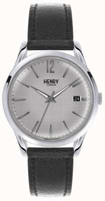 Henry London Mens zilveren wijzerplaat zwart lederen band HL39-S-0075