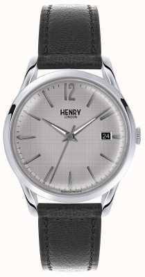 Henry London Mens zilveren wijzerplaat zwart lederen band HL39-S-0075