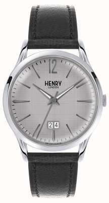 Henry London Mens grijze wijzerplaat zwart lederen riem HL41-JS-0081