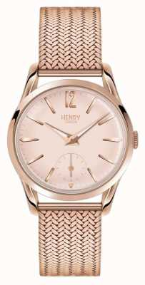 Henry London Womans rose goud wijzerplaat rose goud verguld mesh band HL30-UM-0164