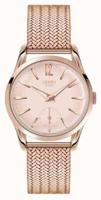 Henry London Womans rose goud wijzerplaat rose goud verguld mesh band HL30-UM-0164
