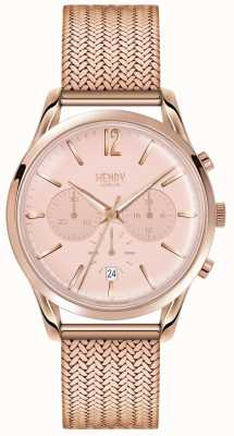 Henry London Womans rose goud chronograaf wijzerplaat rose goud verguld mesh HL39-CM-0168