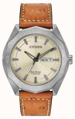Citizen Mens titanium geval bruin lederen band champagne wijzerplaat AW0060-11P