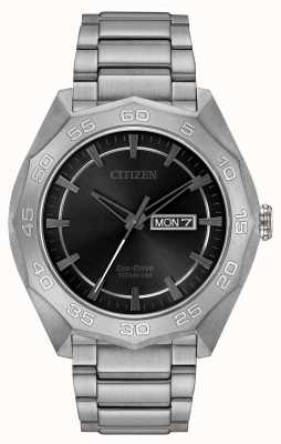 Citizen Mens titanium armband zwarte wijzerplaat AW0060-54H