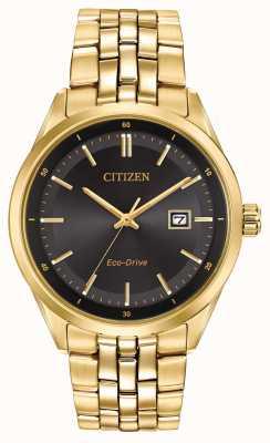 Citizen Mens goud pvd vergulde armband zwarte wijzerplaat BM7252-51E