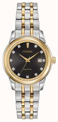 Citizen Dames 11 diamanten tweekleurig roestvrij staal EW2394-59E