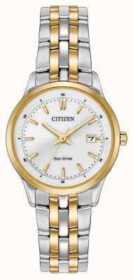 Citizen Tweekleurige roestvrij stalen armband witte wijzerplaat voor dames EW2404-57A